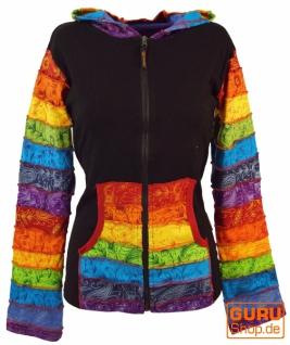 Regenbogen Stonewash Zipfelkapuzen Jacke, Goa Jacke - Modell 4