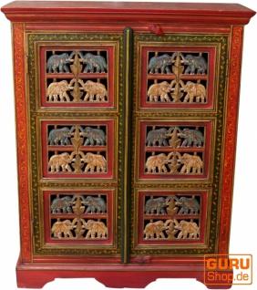 Bemalter Elefantenschrank, Beistellschrank, Kommode mit Schnitzerei - Modell 3