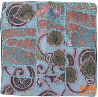 Patchwork Kissenhülle, Dekokissen Bezug aus Rajasthan, Einzelstück - Muster 35