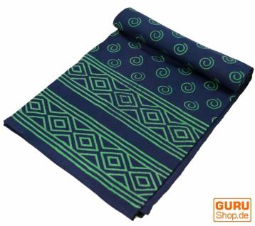 Blockdruck Tagesdecke, Bett & Sofaüberwurf, handgearbeiteter Wandbehang, Wandtuch blau, mehrfarbig - Design 10