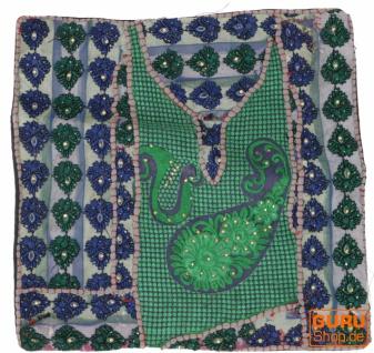 Patchwork Kissenhülle, Dekokissen Bezug aus Rajasthan, Einzelstück - Muster 61