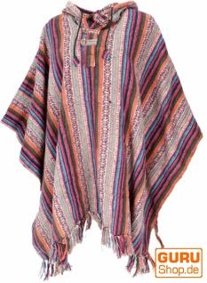 Poncho Hippie chic, Ethno Poncho, Andenponcho - orange/pink