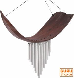 Aluminium Klangspiel, exotisches Windspiel - Palmenblatt braun