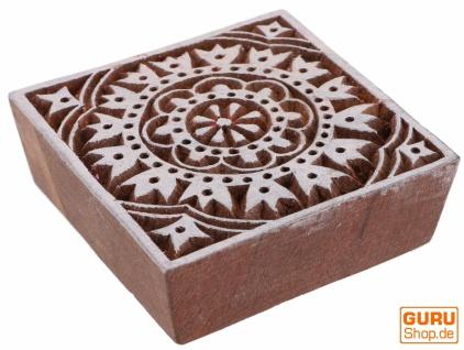 Indischer Textilstempel, Stoffdruckstempel, Blaudruck Stempel, Holz Model - 7*7 cm Blume 2