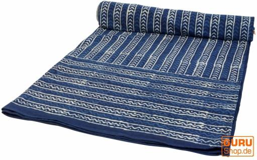 Blockdruck Tagesdecke, Bett & Sofaüberwurf, handgearbeiteter Wandbehang, Wandtuch - indigo retro
