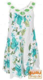 Plus Size Boho Minikleid, weites Sommerkleid, Häkelkleid, Strandkleid, Damen Krinkelkleid Übergröße - weiß/türkis