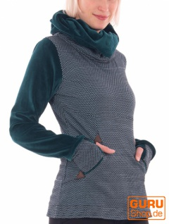 Pullover mit Kapuze aus Bio-Baumwolle / Chapati Design - aqua bubble