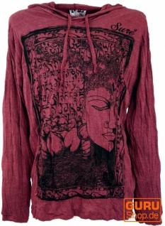 Sure Langarmshirt, Kapuzenshirt Mantra Buddha - bordeaux
