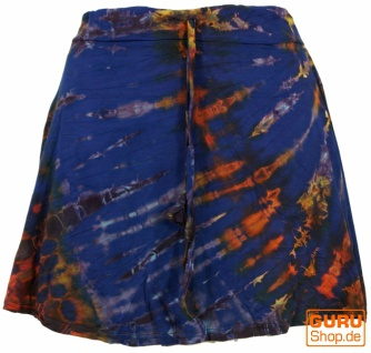 Batik Hippie Minirock, Boho Sommerrock - enzianblau