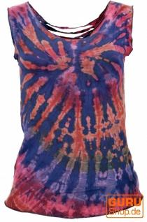 Batik Top, Tie Dye Cut Top - flieder