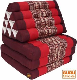 Thaikissen, Dreieckskissen, Kapok, Tagesbett mit 3 Auflagen - braun/rot