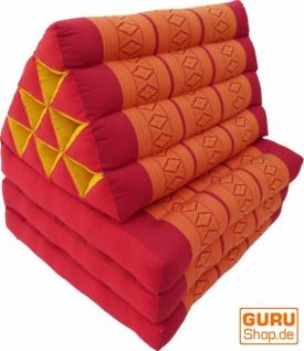 Thaikissen, Dreieckskissen, Kapok, Tagesbett mit 3 Auflagen - rot/orange