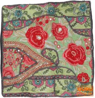 Patchwork Kissenhülle, Dekokissen Bezug aus Rajasthan, Einzelstück - Muster 46