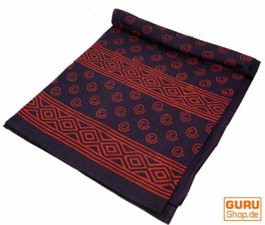 Blockdruck Tagesdecke, Bett & Sofaüberwurf, handgearbeiteter Wandbehang, Wandtuch rot, mehrfarbig - Design 11