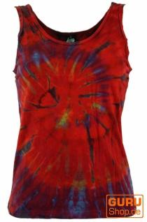 Farbenfrohes Goa-Batik Tanktop, Batiktop - rot