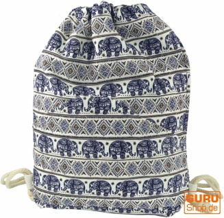 Turnbeutel, Ethno Rucksack, Sportbeutel mit Elefantendruck - blau