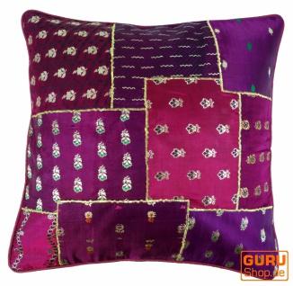 Orientalische Kissenhülle, Kissenbezug Saree Patchwork - lila