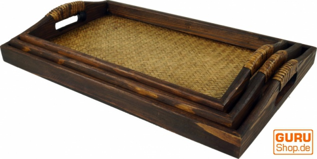 Tablett Holz / Rattan, Frühstückstablett Serviertablett mit Holzrahmen & Rattangeflecht