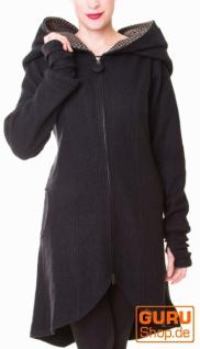 Kurzmantel mit Kapuze aus Merino-Wolle / Chapati Design - black