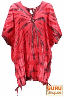 Batiktunika, mit Bändern, Maxitunika, Strandkleid, Übergröße - rot/anthrazit