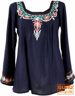 Bestickte Elfenbluse, Boho Damenbluse - nachtblau