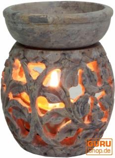 Indische Duftlampe, ätherisches Öl Diffusor, Teelicht Halter für Aromatherapie, Aromalampe aus Speckstein - Rund Blumenranke 1