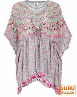 Poncho, Kaftan, Tunika, Minikleid, Damen Übergröße, Kurzarm Strandbluse - rosa