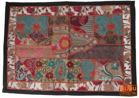 Indischer Wandteppich Patchwork Wandbehang, Einzelstück 90*65 cm - Muster 2
