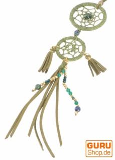 Ethno Kette, Modeschmuck Kette Traumfänger mit verstellbarem Lederband - olivgrün