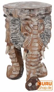 Blumenhocker, Dreibeiniger Beistelltisch, Dekoobjekt Elefanten Kopf - hell 30 cm