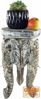 Blumenbank, Hocker, Dreibeiniger Beistelltisch, Dekoobjekt Elefanten Kopf - 50 cm