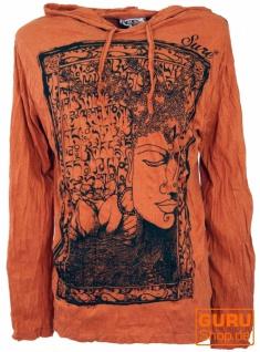 Sure Langarmshirt, Kapuzenshirt Mantra Buddha - rostorange