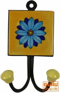 Doppelwandhaken, Garderobenhaken mit handgefertigter Keramik Fliese - Modell 14