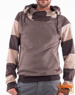 Pullover mit Kapuze aus Bio-Baumwolle / Chapati Design - choco/beige