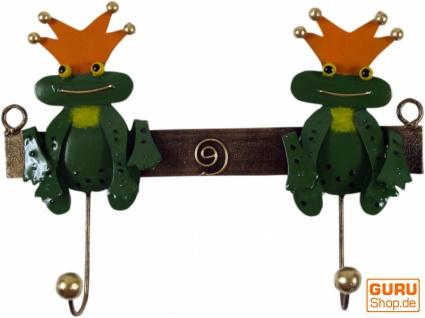 Hakenleiste mit Figuren, Ethno Kleiderhaken, Metall Kleiderhaken - zwei Froschkönige