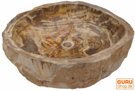 Massives Fossiles Holz Aufsatz-Waschbecken, Waschschale, Naturstein Handwaschbecken - Modell 9