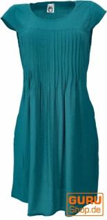 Minikleid Boho Style, schlichtes Sommerkleid - petrol