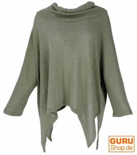 Oversize Pullover mit Rollkragen, Feinstrick Pixi Poncho-Pulli - khaki