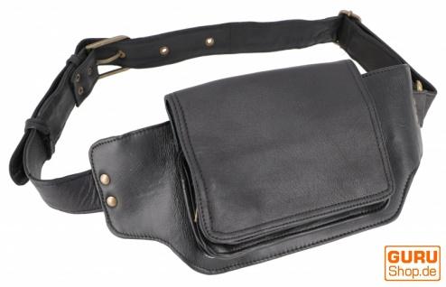 Sidebag, Leder Gürteltasche, Goa Tasche - schwarz
