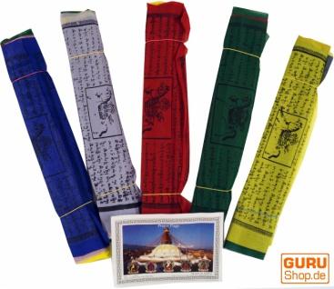 Gebetsfahnen (Tibet) 5 Stück Sparpack Gebetsfahnen in verschiedenen Längen -10 Wimpeln/Viskose