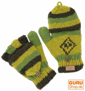 Handgestrickte Handschuhe, Klapphandschuhe Nepal, Wollhandschuhe - grün