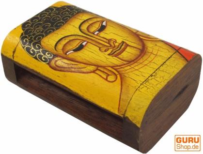 Handbemalte Holzschachtel / Schatulle mit Buddha Motiv - gelb