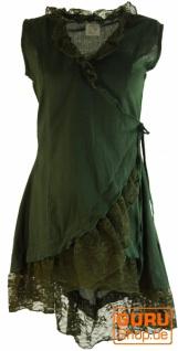 Wickeltunika mit Spitze - dunkelgrün