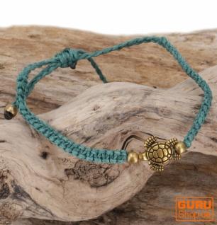 Ethno Schildkröten Perlenarmband, Makramee Armband - türkis