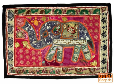 Indischer Wandteppich Patchwork Wandbehang mit Elefant, Einzelstück 90*65 cm - Muster 8