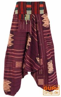 Haremshose mit breitem gewebtem Bund, Ikat Pluderhose - beere