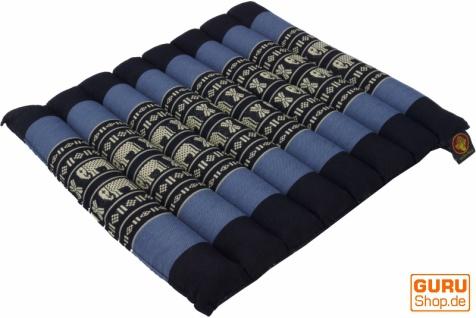 Thai Stuhlkissen, Bodenkissen, Sitzunterlage aus Kapok, 35*40 cm - schwarz/blau