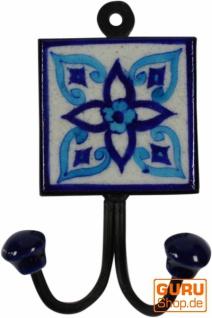 Doppelwandhaken, Garderobenhaken mit handgefertigter Keramik Fliese - Modell 8