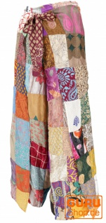 Palazzohose, offene Patchwork Sommerhose - bunt