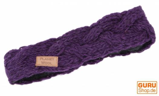 Geflochtenes Woll-Strick-Stirnband, gestrickter Ohrenwärmer - violett